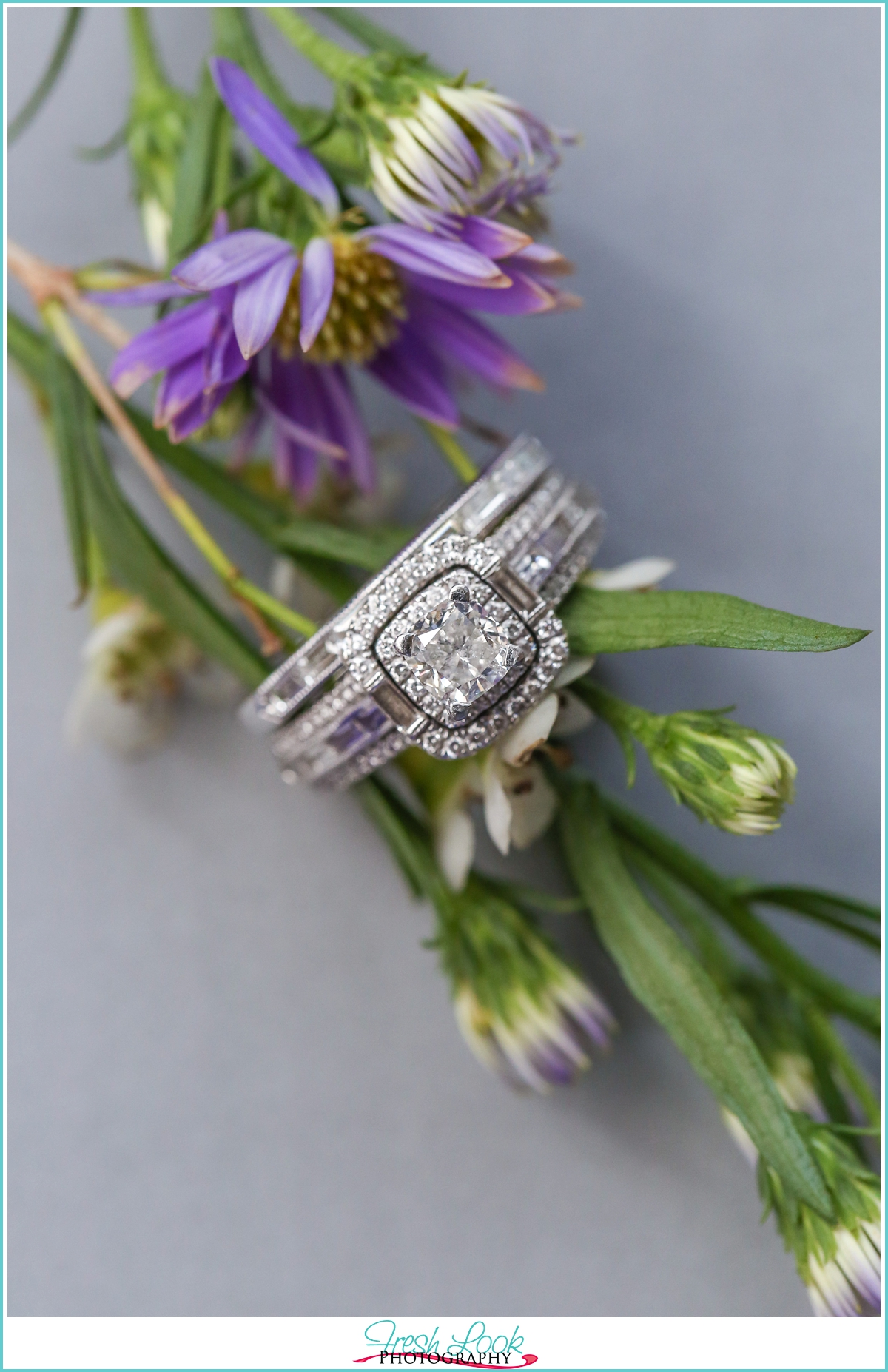 wild flowers and engagement ring