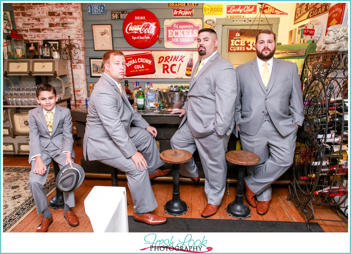 groom and groomsmen formal portraits
