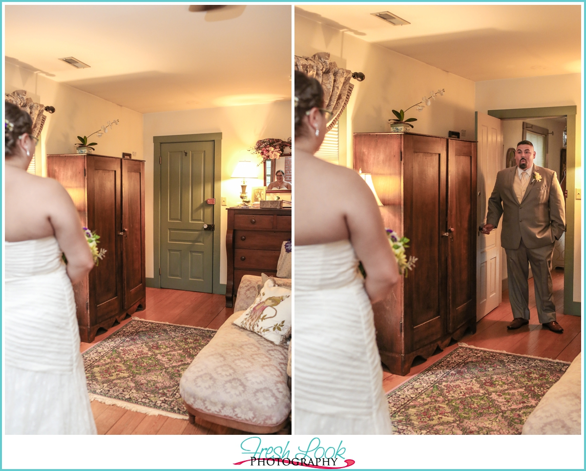 first look between the bride and groom