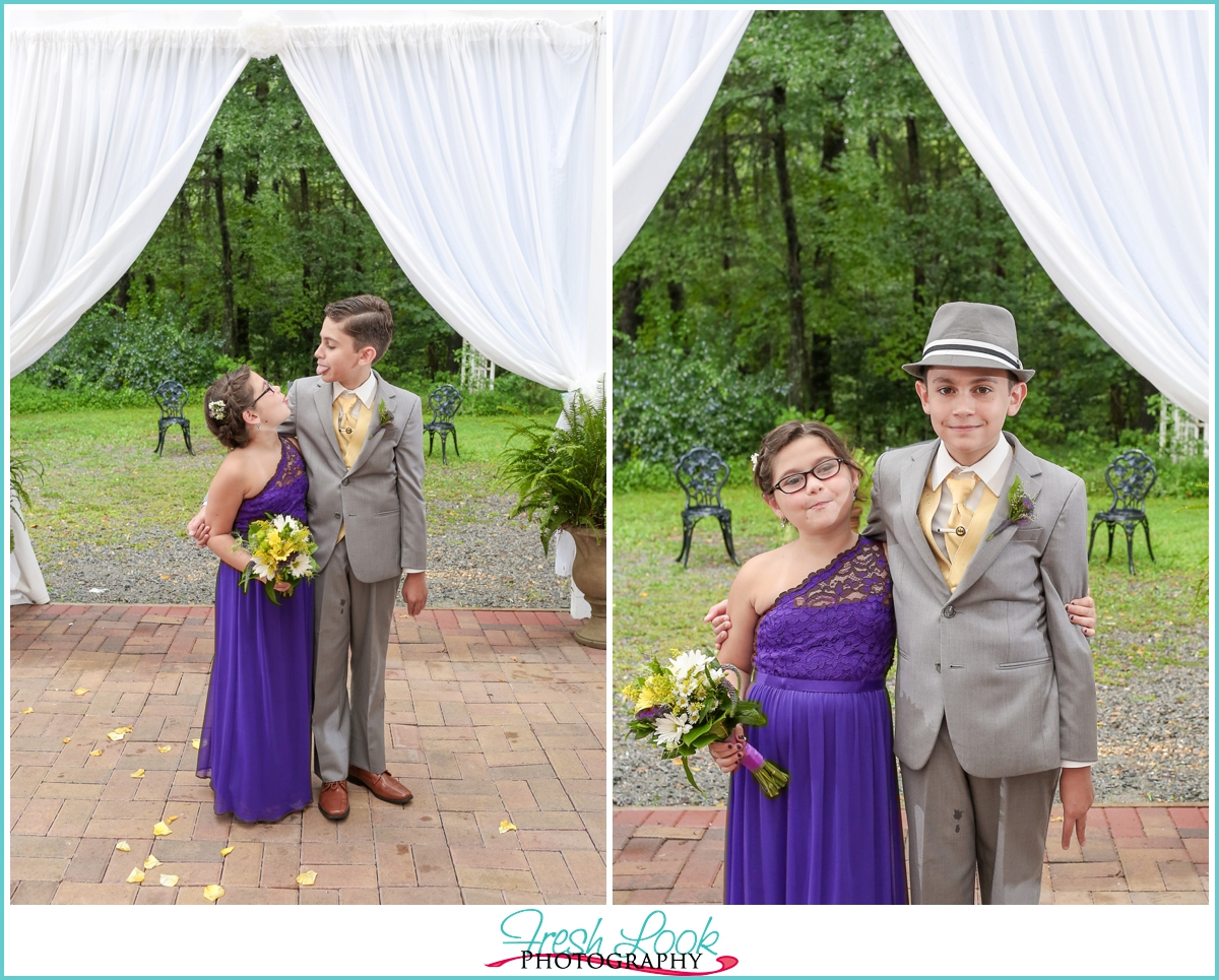 brother and sister wedding photo