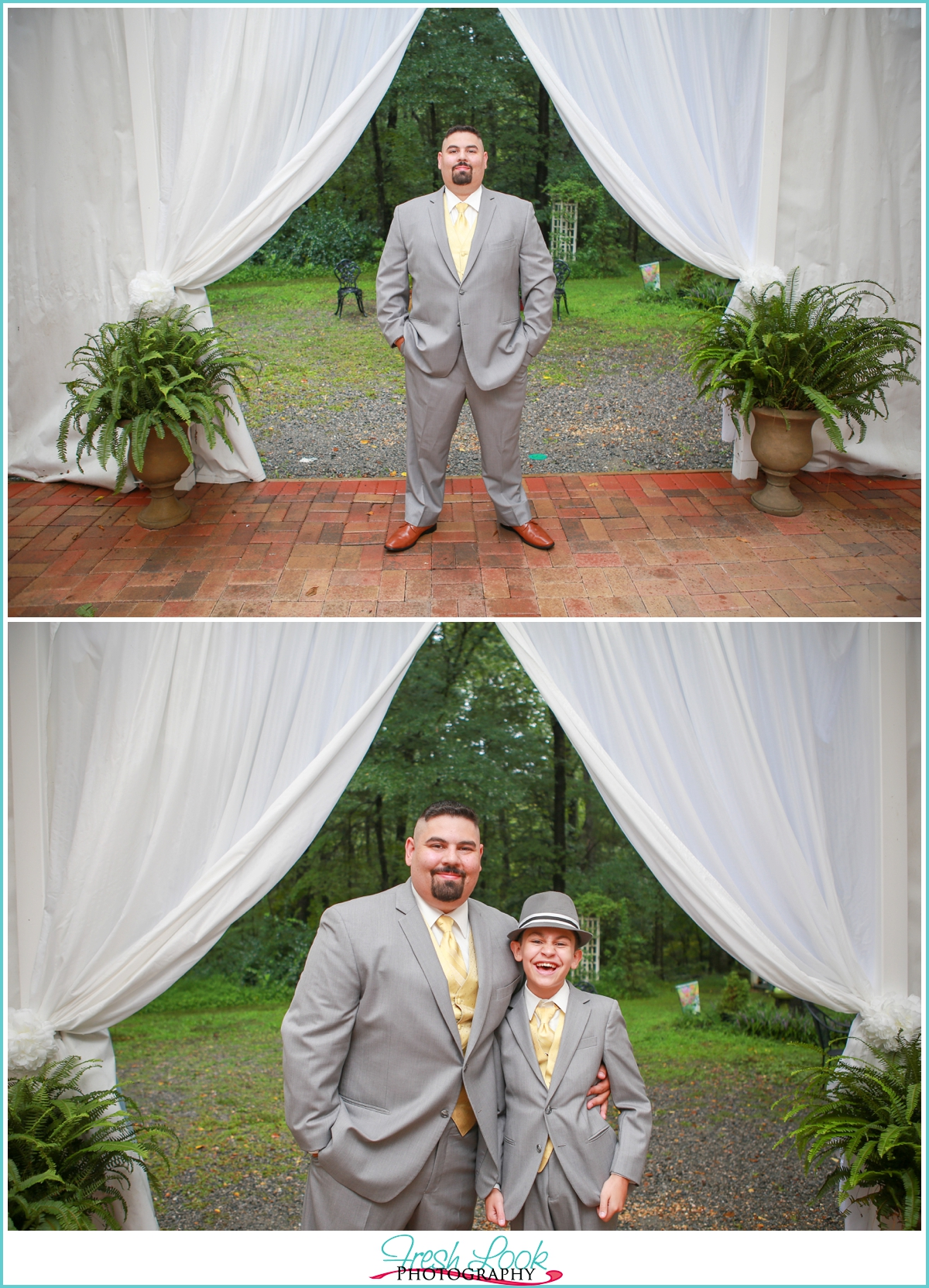 father and son wedding portrait