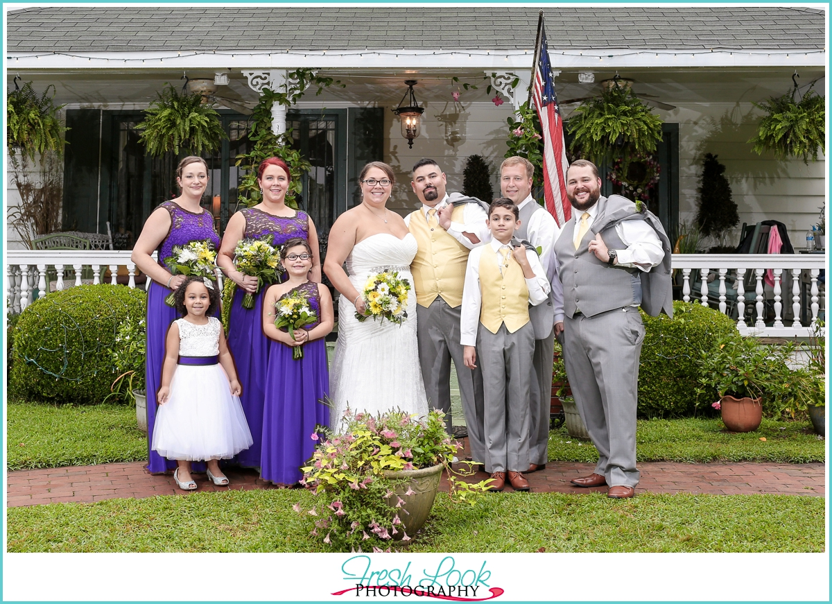 purple and yellow wedding party
