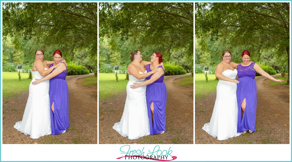 silly bride and bridesmaid