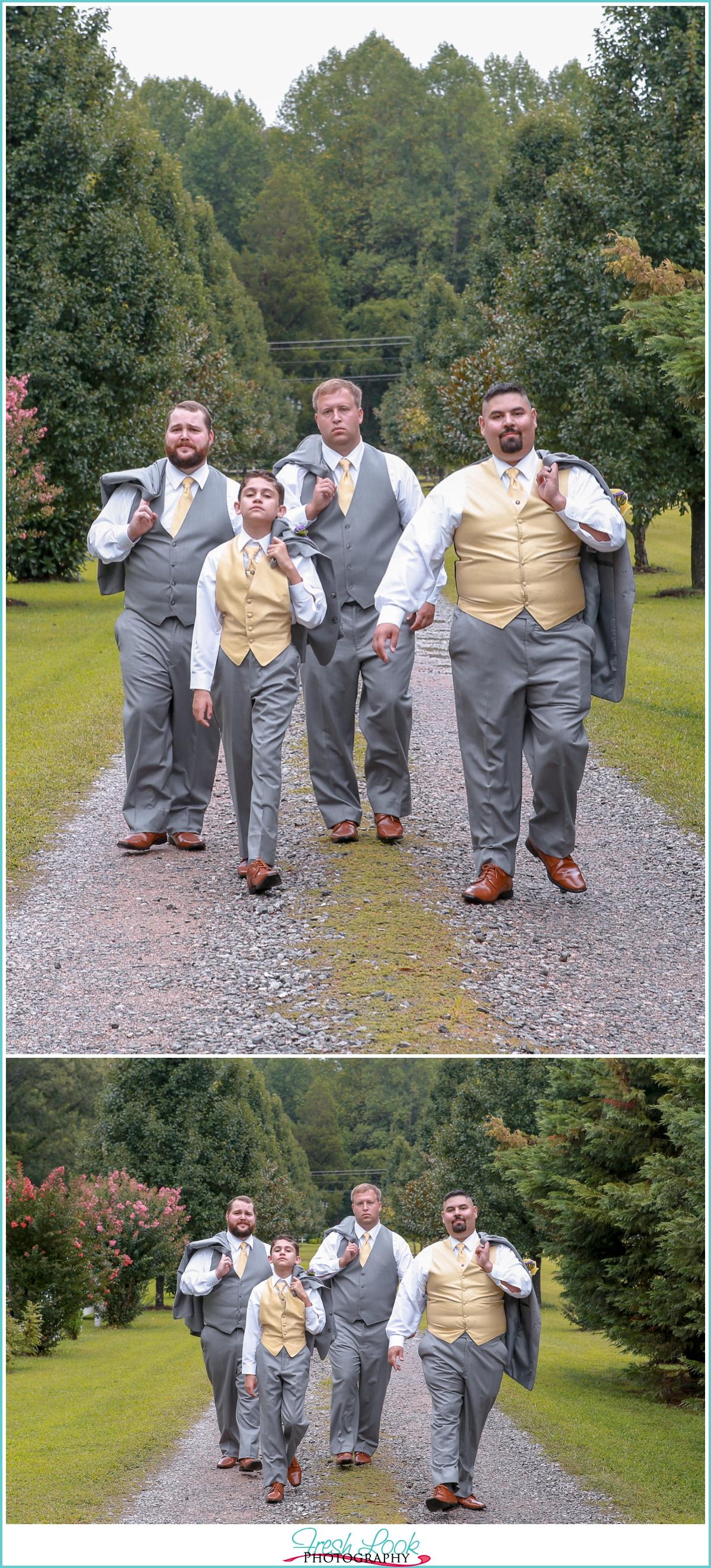 groomsmen walking and looking cool