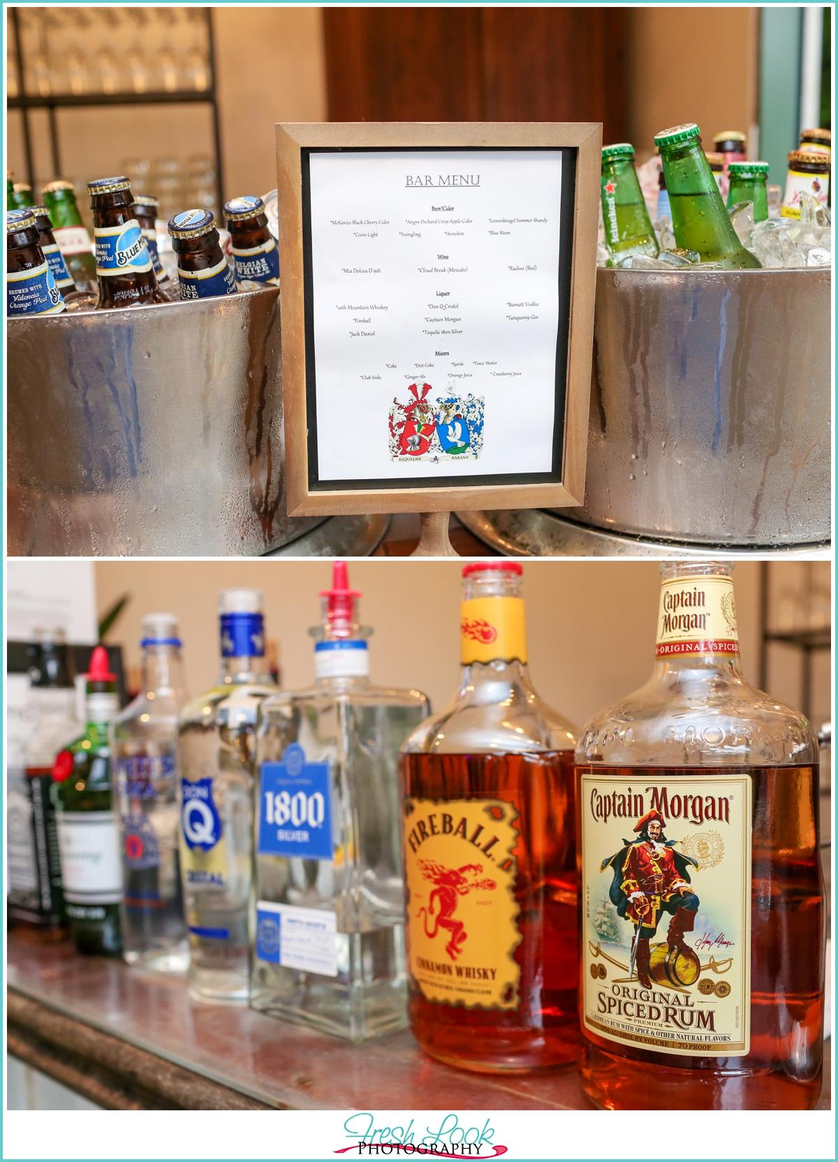 wedding reception bar signs